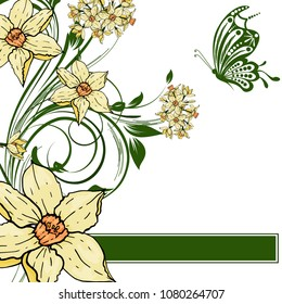 Abstract vector  hand drawing  Narcissus flower background. Flower invitation, save the date card template, abstract elegant pattern ector design editable. Floral design