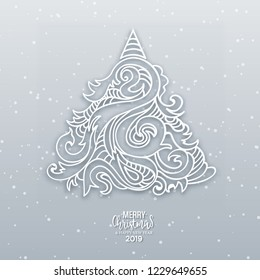 Abstract vector hand drawn christmas tree with shadow