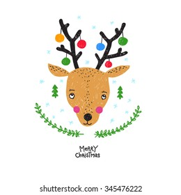 Abstract vector hand drawn christmas deer illustration