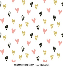Abstract vector hand drawn hearts seamless pattern, grunge texture. Valentine's day background for print, wrapping paper, textile design, wedding cards etc.