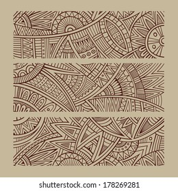 Abstract vector hand drawn vintage ethnic banners