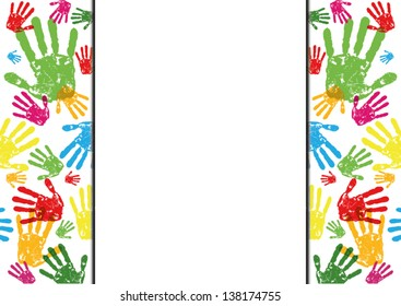 abstract vector hand prints background with empty space