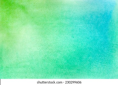 Abstract vector hand-drawn watercolor background. Green and blue colours. Colourful template. There is blank place for your text. EPS 8.