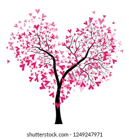 Abstract vector heart tree, Valentine Day. Love, wedding background