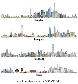 abstract vector high detailed illustrations of Shanghai, Hong Kong, Guangzhou and Beijing skylines