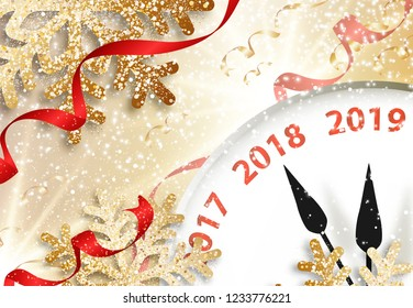 Abstract vector holiday 2019 New Year greeting card with clock, snow, snowflakes, ribbons and bright star