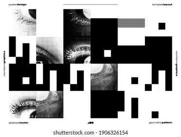 Abstract vector horizontal banner template with eyes transition effect. Geometrical composition, useful for web design, business card, invitation, poster, textile print, background.