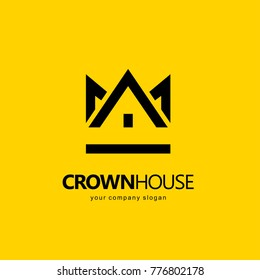 Abstract vector house logo design template. Crown House. Real Estate, Building, Construction and Architecture.
