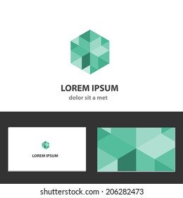 Abstract vector icon design template with business card