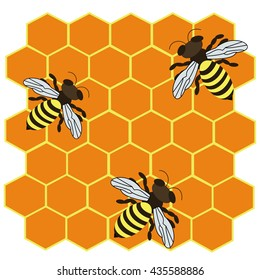 Abstract vector icon illustration logo for yellow honey, nectar of bee on honeycomb background. Honey pattern consisting of sweet natural product wild bees Honeycomb. Eat honeys honeycombs bumblebee.