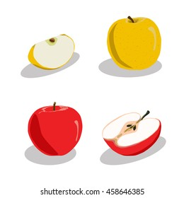 Abstract vector icon illustration logo for whole ripe fruit apple, green stem leaf, cut sliced half food. Apple pattern consisting of fruits label, raw sweet food. Eat fresh tasty apples on health.