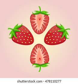 Abstract vector icon illustration logo whole ripe berry red strawberry, green stem leaf, cut sliced. Strawberry pattern consisting of fruits label, raw sweet food. Eat tasty fresh berries strawberries