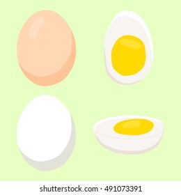 Abstract vector icon illustration of logo for whole chicken egg in a shell, cut sliced, purified half of boiled chicken eggs. Egg pattern consisting of fried omelet, eggshell birds, yolk with protein.