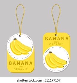 Abstract vector icon illustration logo for whole ripe yellow bananas branch, long stem, slice plantain. Banana pattern consisting of natural fruit label, sweet food. Eat tasty fresh banana on health.