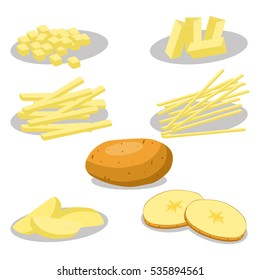 Abstract vector icon illustration logo for whole vegetable potato, sliced baked foods. Potato pattern consisting of ripe boiled stewed food, steamed fries, raw fried chips. Boiled vegetables potatoes.