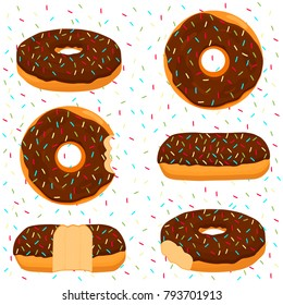 Abstract vector icon illustration logo for glazed sweet donut. Donut pattern consisting of heap of different colored confection doughnuts. Eat tasty cakes donuts, doughnut covered in chocolate cream.
