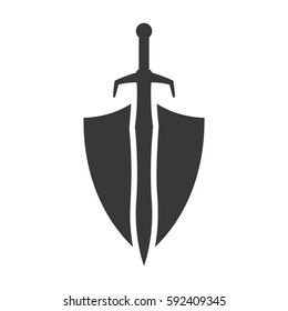 Abstract vector icon - shield and sword