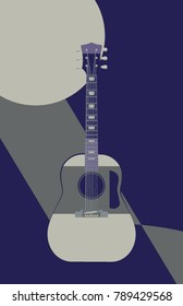 Abstract vector illustration of an acoustic guitar in front of a geometric full moon, as a moonbeam falls out of the night.  11x17 aspect  ratio,  5 colors of blues, mints, and grays.