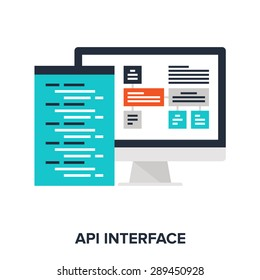 Abstract vector illustration of API interface flat design concept.
