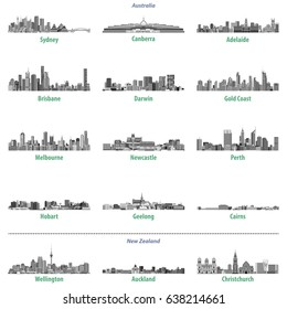 abstract vector illustration of Australian and New Zealand city skylines in grey scales color palette