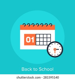 Abstract vector illustration of back to school flat design concept.