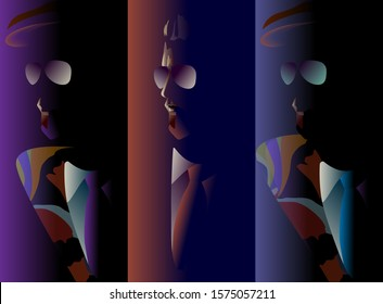 Abstract vector illustration of bearded man in sunglasses and tie, floral coat, hat, men's clothing store, color print, fashion art