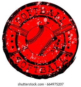 Abstract vector illustration black and red stamp with baseball ball and crossed bats. Inscription in circle softball. Design for tattoo or print t-shirt.