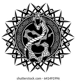 Abstract vector illustration black and white snake with open mouth on round ornament with celtic knots. Design for tattoo or print t shirt.