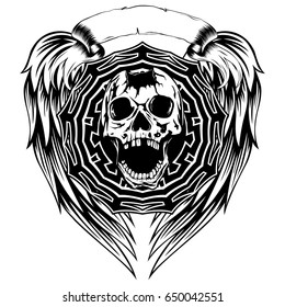 Abstract vector illustration black and white broken skull with open jaw and round ornament on wings. Design for tattoo or print t shirt.