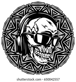 Abstract vector illustration black and white dj skull with headphones and sunglasses on round ornament. Design for tattoo or print t shirt.