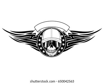 Abstract vector illustration black and white skull in sunglasses and baseball cap on round frame with stars and tribal wings. Design for tattoo or print t-shirt.