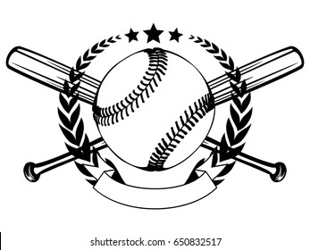 Abstract vector illustration black and white baseball ball and crossed bats and wreath. Design for tattoo or print t-shirt.