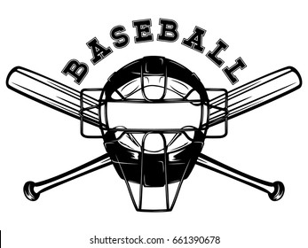 Abstract vector illustration black and white baseball mask and crossed bats. Inscription baseball. Design for tattoo or print t-shirt.