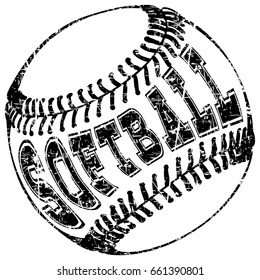 Abstract vector illustration black and white baseball ball. Inscription softball. Design for tattoo or print t-shirt.