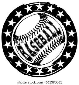 Abstract vector illustration black and white stamp baseball ball and stars. Inscription baseball. Design for tattoo or print t-shirt.
