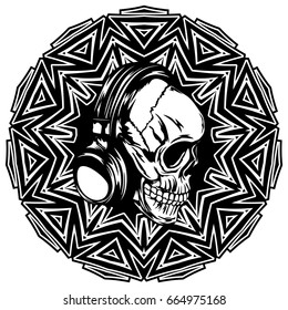 Abstract vector illustration black and white skull with headphone on round ornament. Design for tattoo or print t shirt.