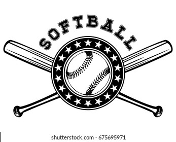 Abstract vector illustration black and white baseball ball and crossed bats. Inscription softball. Design for tattoo or print t-shirt.