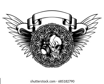 Abstract vector illustration black and white disc jockey skull with headphone and round ornament on wings. Design for tattoo or print t shirt.