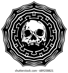 Abstract vector illustration black and white skull on round ornament. Design for tattoo or print t shirt.