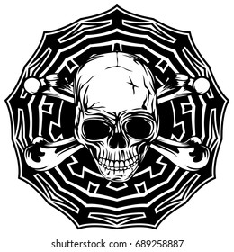 Abstract vector illustration black and white human skull with crossed bones on round ornament. Design for tattoo or print t shirt.