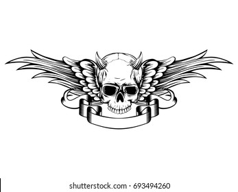 Abstract vector illustration black and white horned skull demon with wings. Design for tattoo or print t-shirt .