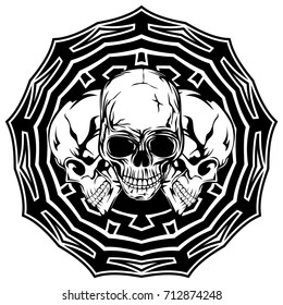 Abstract vector illustration black and white skulls on round ornament. Design for tattoo or print t shirt.