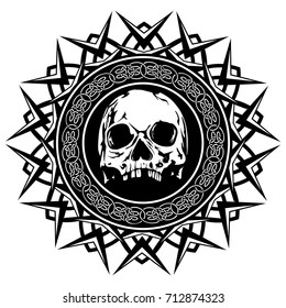 Abstract vector illustration black and white skull on round ornament with celtic knots. Design for tattoo or print t shirt.