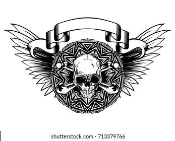 Abstract vector illustration black and white human skull with crossed bones and round ornament on wings. Design for tattoo or print t shirt.