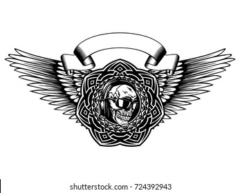 Abstract vector illustration black and white disc jockey skull in sunglasses with headphone and round ornament on wings. Design for tattoo or print t shirt.