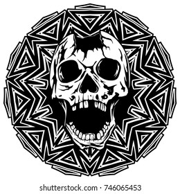 Abstract vector illustration black and white broken human skull with open jaw on round ornament. Design for tattoo or print t shirt.