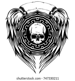 Abstract vector illustration black and white human skull and round ornament on wings. Design for tattoo or print t shirt.