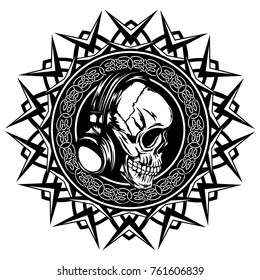 Abstract vector illustration black and white skull with headphone on round ornament with celtic knots. Design for tattoo or print t shirt.