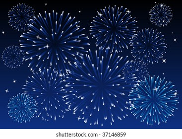 Abstract vector illustration of a blue sky with fireworks