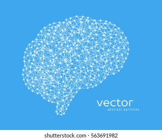 Abstract vector illustration of brain on blue background.